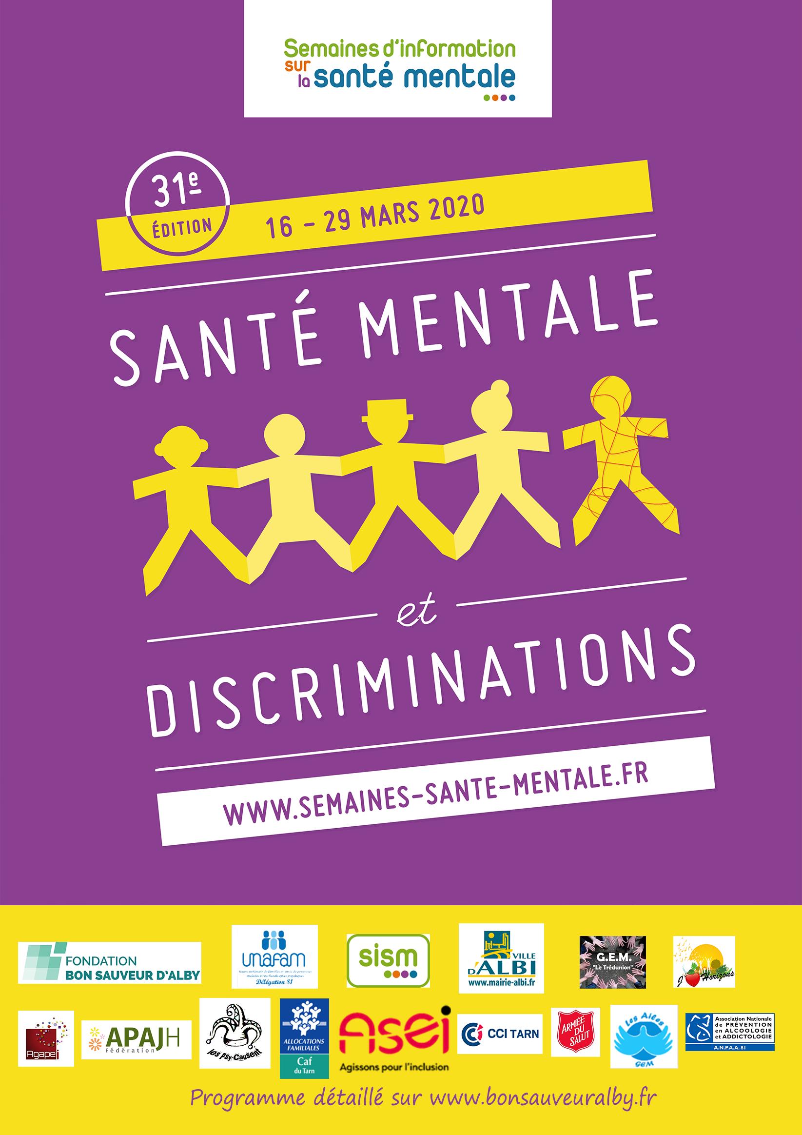 Affiche des Semaines d'Information sur la Santé Mentale 2020